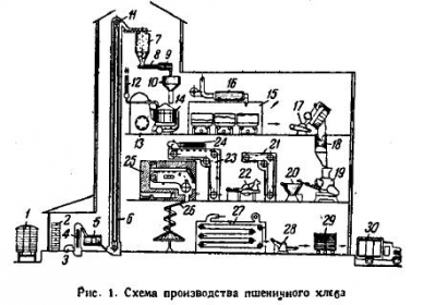 Схема технологического процесса производства хлеба на современном хлебозаводе
